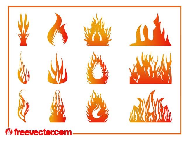 Burning Flames Graphics Set vector free