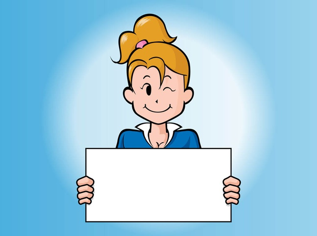 Cartoon Girl With Board vector free