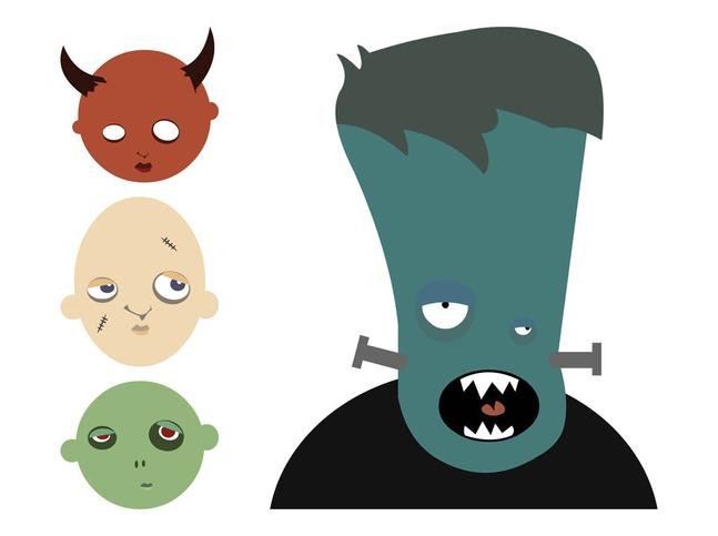 Cartoon Halloween Monsters vector free