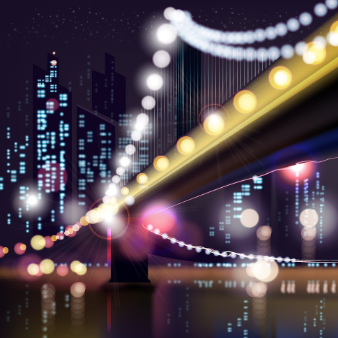 City night colored halation background vector graphics 04 free