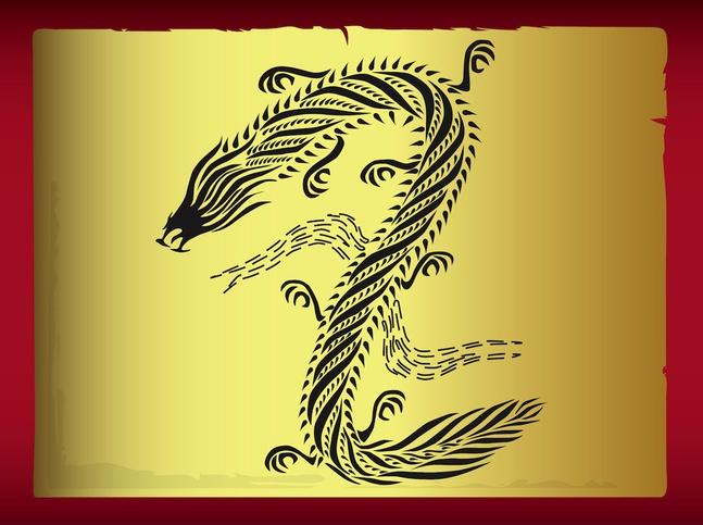 Dragon Tattoo Design vector free