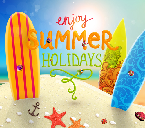 Enjoy tropical summer holidays backgrounds vector 01 free