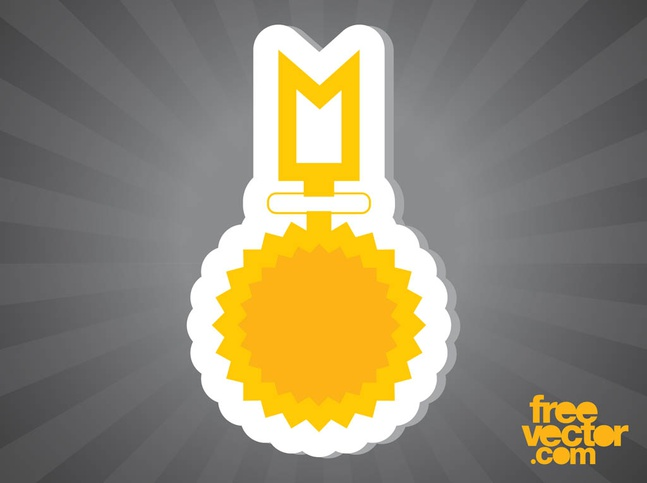 Gold Medal Sticker vector free
