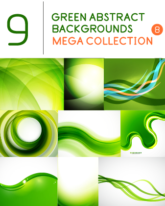 Green abstract background art vector set 01 free