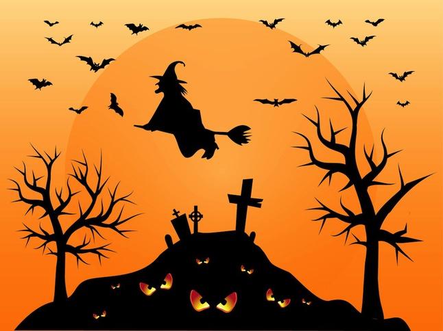 Halloween Cemetery vector free