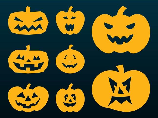 Halloween Pumpkins Silhouettes vector free