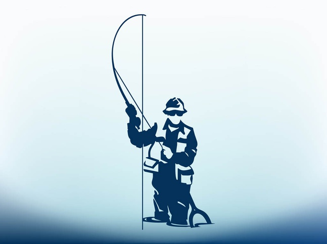 Man With Fishing Pole vector free