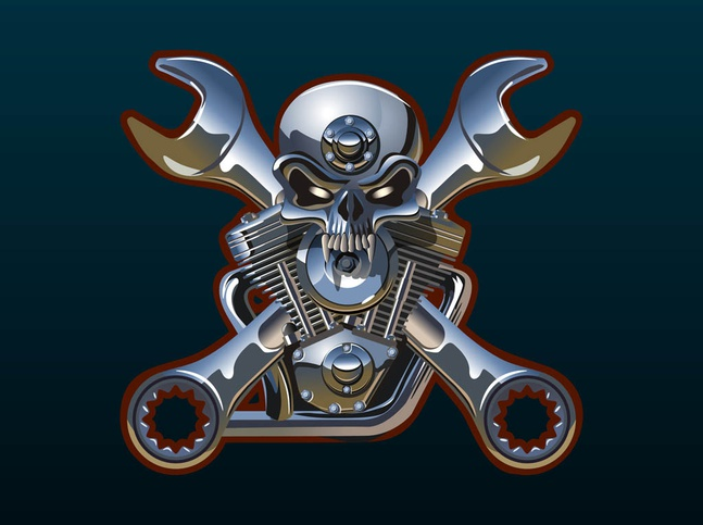 Metal Skull And Wrenches vector free