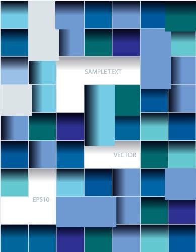 Multicolor squares creative background vector set 05 free