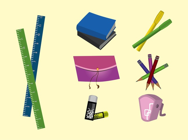 School Supplies vector free