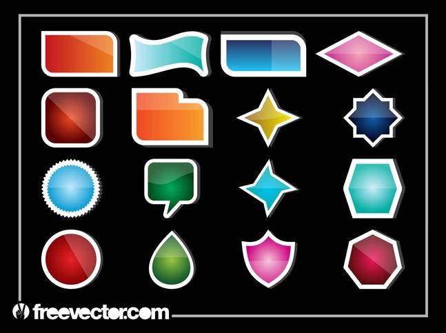 Shiny Stickers vector free