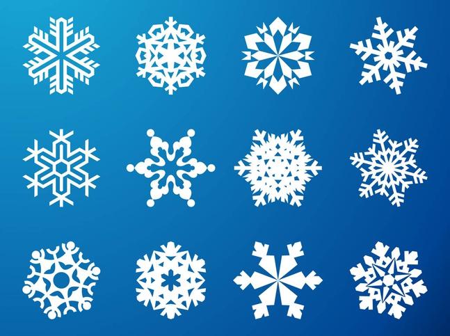Snowflake Graphics Set vector free
