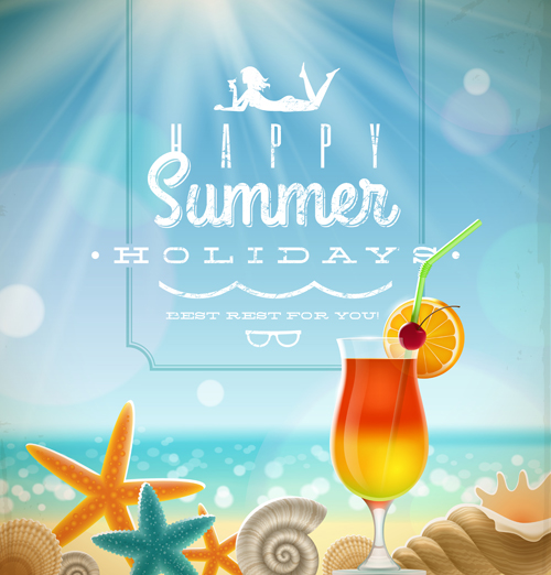 Summer holiday ocean backgrounds art vector 02 free