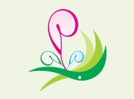 Curved Flowers Icon vector free