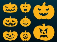 Halloween Pumpkins Silhouettes vector free