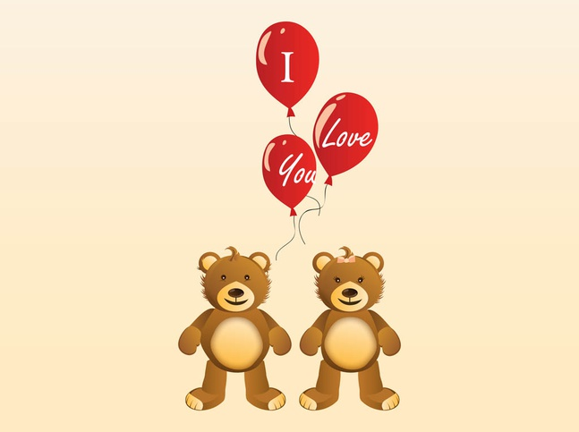Valentine Teddy Bears vector free