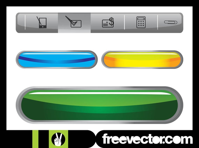 Website Navigation And Buttons vector free
