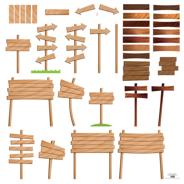 Wood Signs vector free