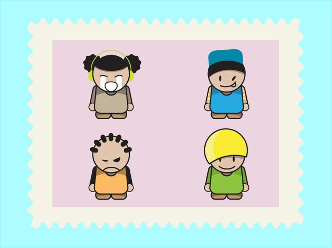 Cartoon Kids Pack vector free