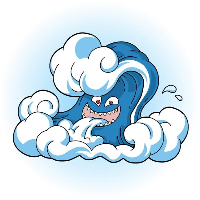 Comic Tsunami Wave Face vector free