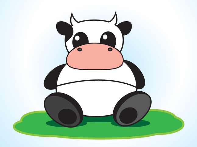 Cow Cartoon Character vector free
