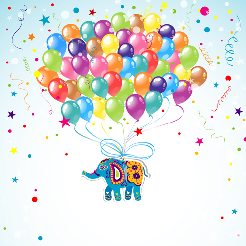 Floral elephants with happy birthday background vector 04 free