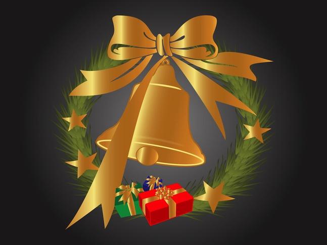 Golden Christmas Bell vector free
