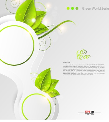 Green world creative Eco background vector 05 free