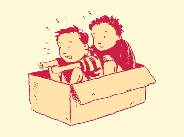 Kids In Box vector free