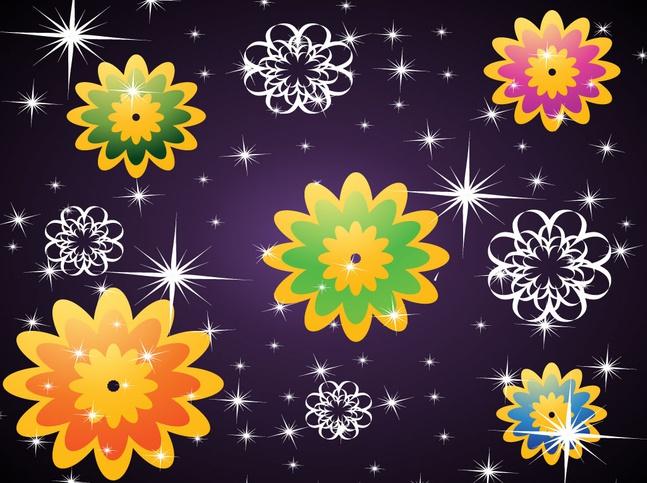 Purple Flowers Background vector free