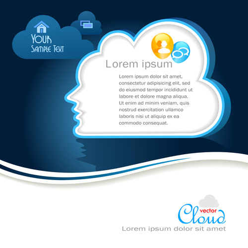 Business social template with cloud backgrounds 02 free