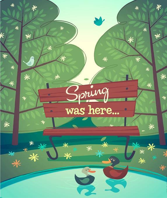 Cartoon spring natural scenery vector background 02 free