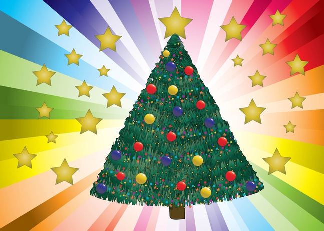 Decorated Christmas Tree Vector free