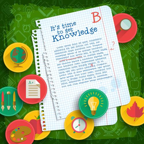 Education elements creative vector background set 06 free