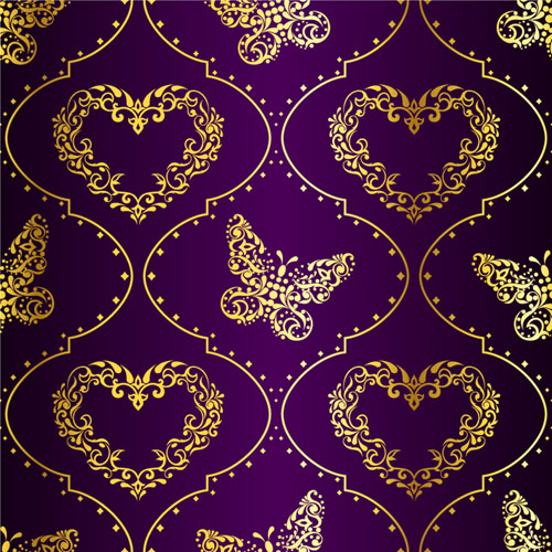 Golden easter pattern and purple background vector 03 free