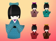 Japanese Dolls vector free